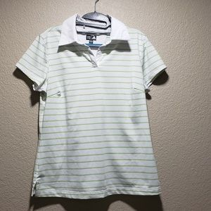 Adidas white and green striped golf shirt medium